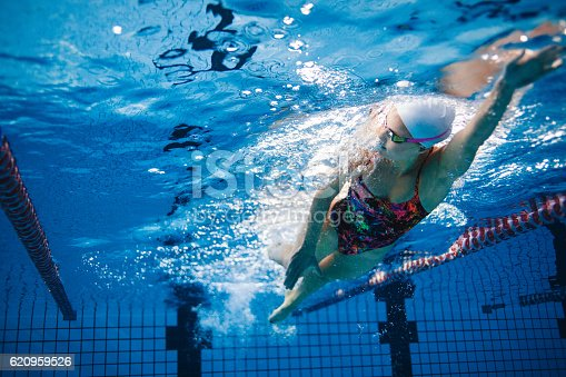 istock Underwater shot of swimmer training in the pool 620959526