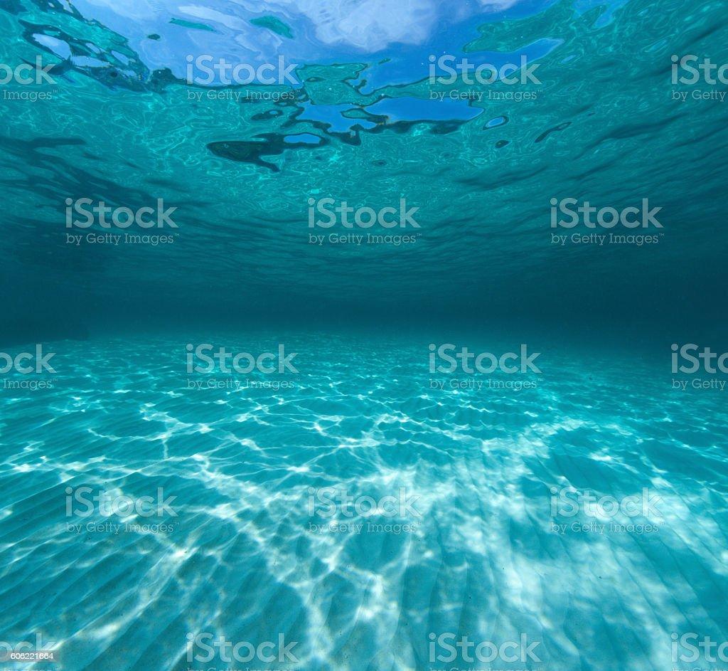 Underwater shot of the sea sandy bottom stock photo