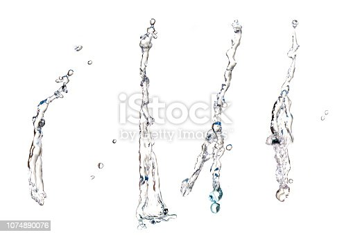 Underwater splashes isolated on white
