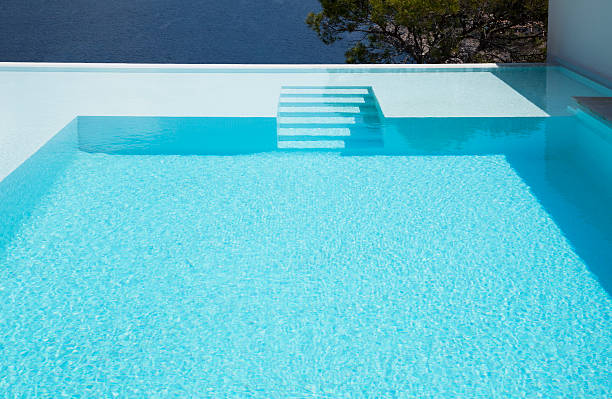Underwater steps in infinity pool  infinity pool stock pictures, royalty-free photos & images