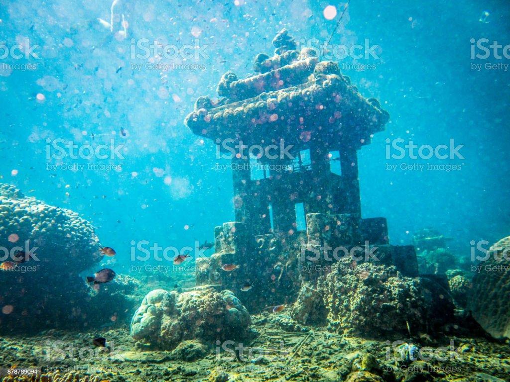 Underwater Sunken Artificial Reef, Pyramids, Jemeluk, Tulamben, Amed, Bali stock photo