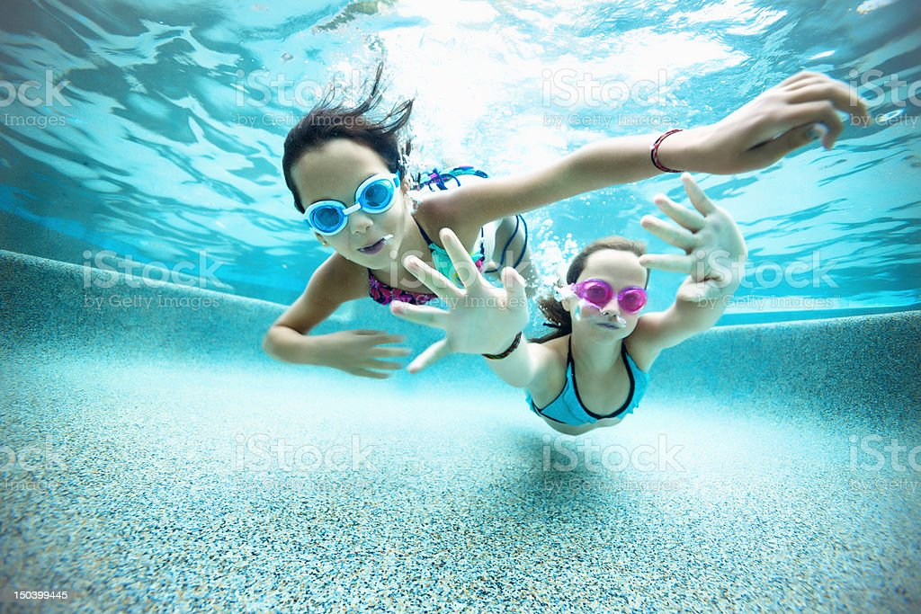 Underwater swimming perspective stock photo