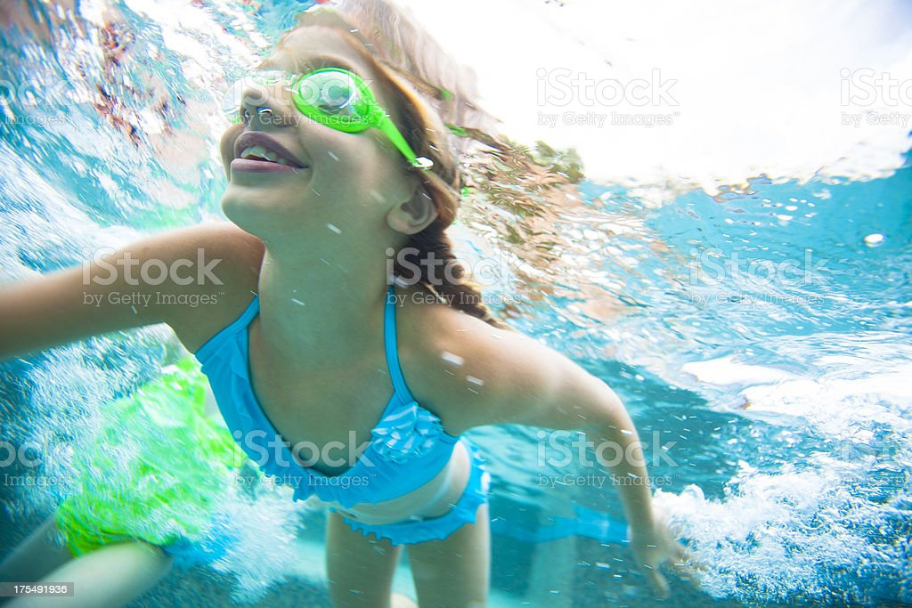 Underwater swimming royalty-free stock photo