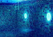 istock Underwater Swimming Pool with LED Lights and Stair and Stainless Handle 1205909775