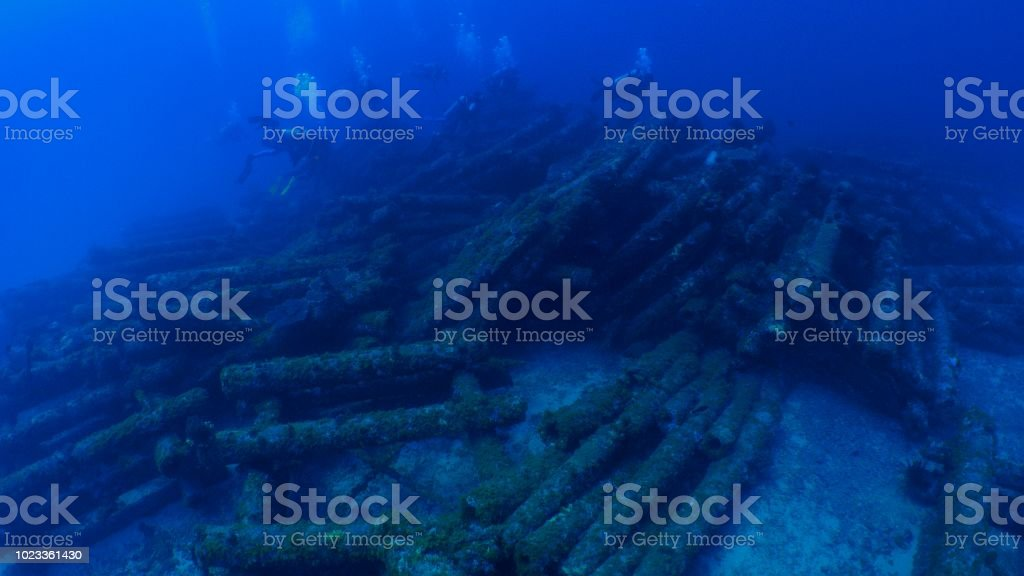 Underwater Telephone Pole Artificial Reef Scuba Diving Stock Photo