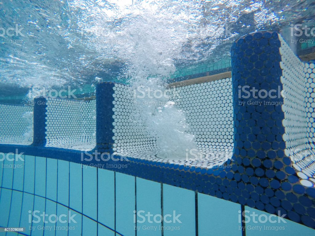Underwater View Of Clean Swimming Pool Massage Seat With Air Bubbles ...