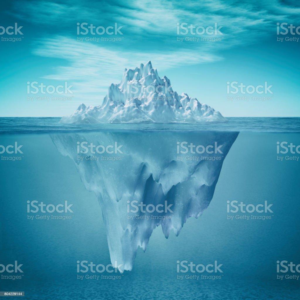 Underwater view of iceberg stock photo