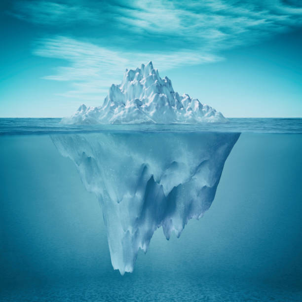 underwater view of iceberg - iceberg stock photos and pictures