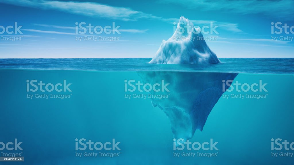 Underwater view of iceberg stock photo