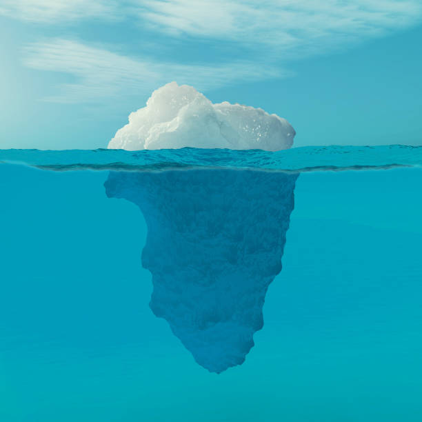 underwater view of iceberg with beautiful transparent sea on background. - iceberg stock photos and pictures