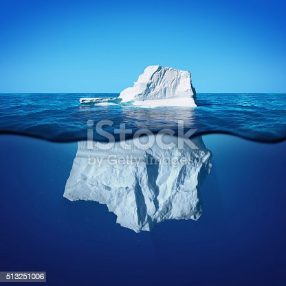 istock Underwater view of iceberg with beautiful transparent sea 513251006