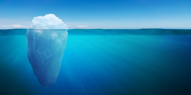 Underwater view on big iceberg floating in ocean. 3D rendered illustration. stock photo