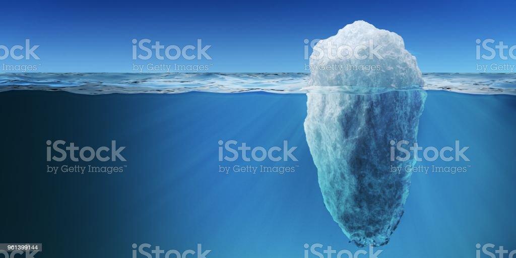 Underwater view on big iceberg floating in ocean. 3D rendered illustration. stock photo