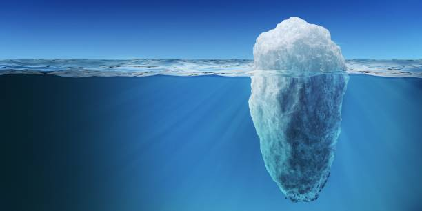 underwater view on big iceberg floating in ocean. 3d rendered illustration. - iceberg stock photos and pictures
