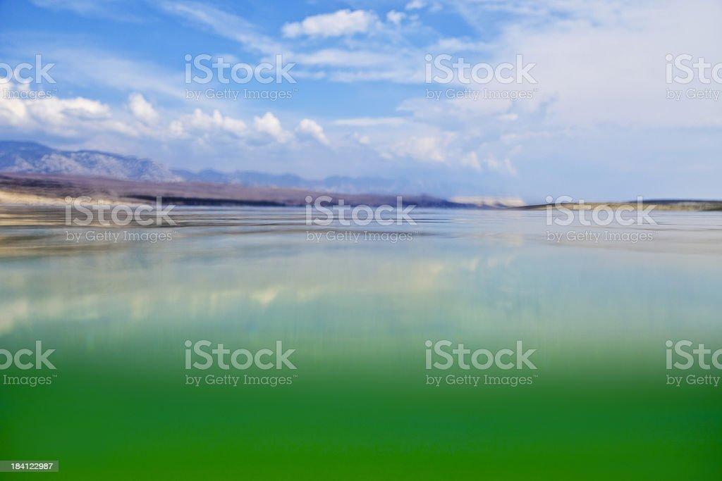 Underwater, water surface shot stock photo