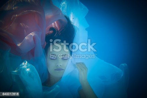 istock Underwater woman close up portrait in swimming pool 640012818