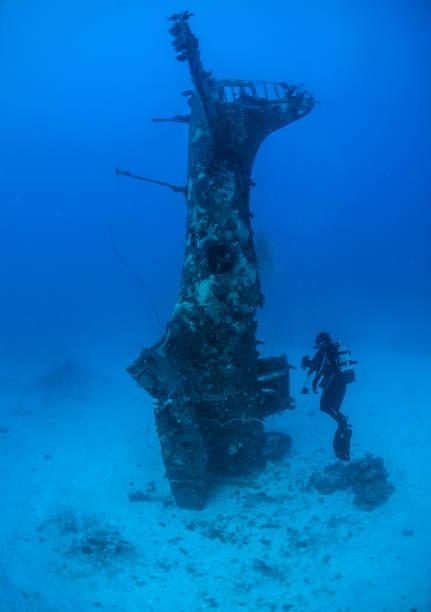 Underwater World War II aircraft stock photo