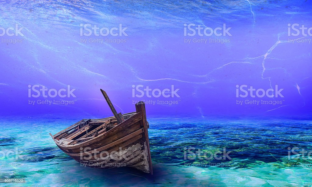 Underwater Wreck Background in the Sea stock photo