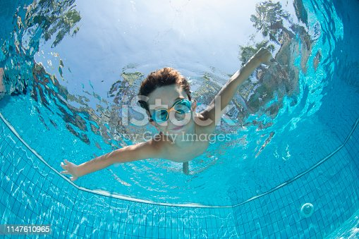 Underwater Young Boy Fun in the Swimming Pool with Goggles
