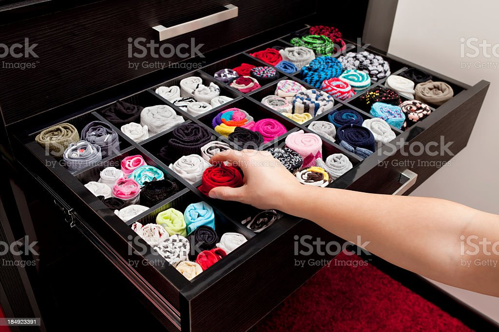 Underwear drawer showing variety colors stock photo