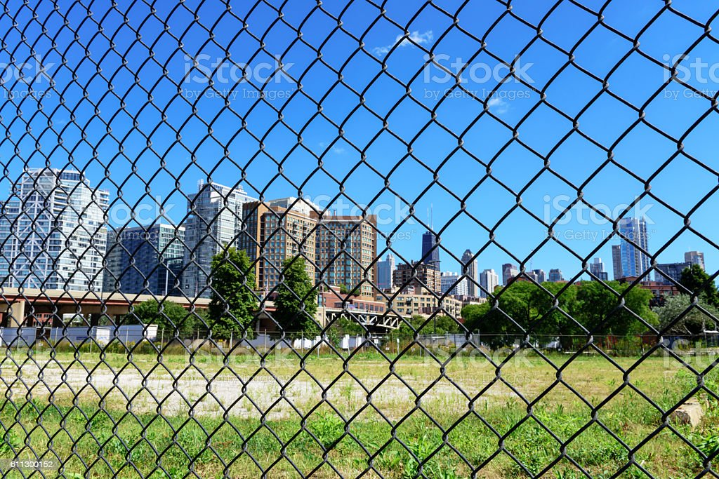 Undeveloped land in West Town, Chicago stock photo