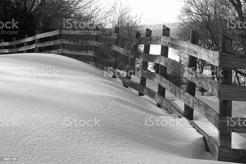 Undisturbed Rural Snow & Fence stock photo