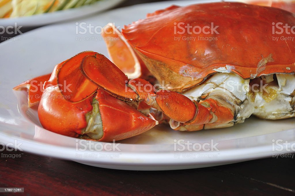 Undressed roasted crabs prepared on plate royalty-free stock photo