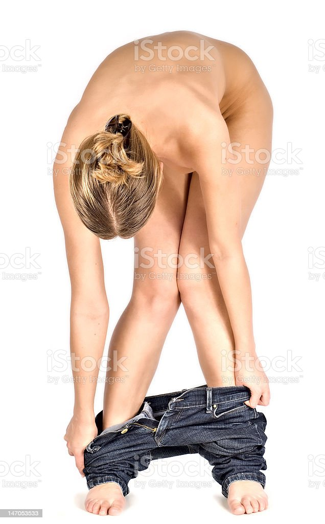 Undressing the jeans royalty-free stock photo