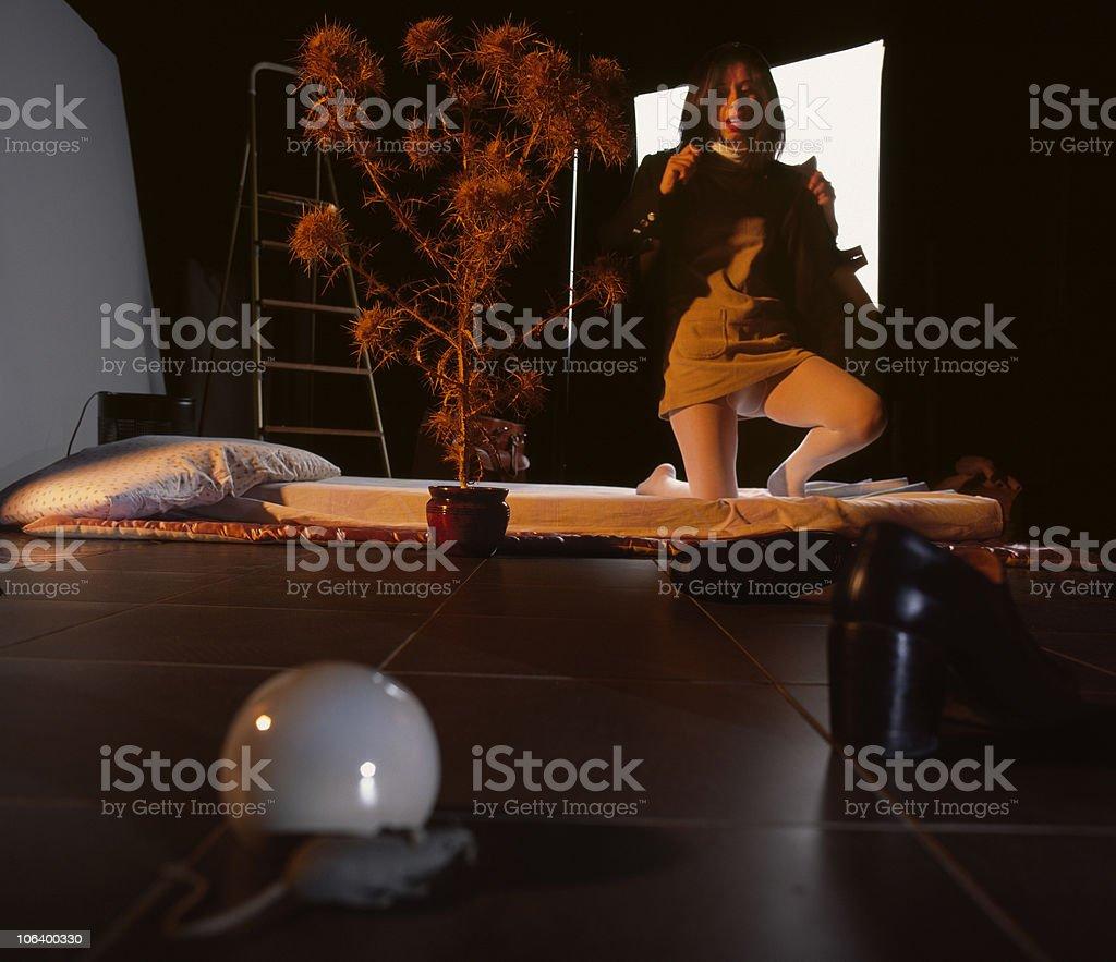 Undressing Woman, phase 1 stock photo
