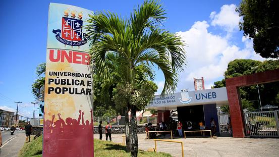 salvador, bahia, brazil - january 17, 2021: entrance gate of the University of Estada da Bahia - Uneb, in the Cabula neighborhood in the city of Salvador.