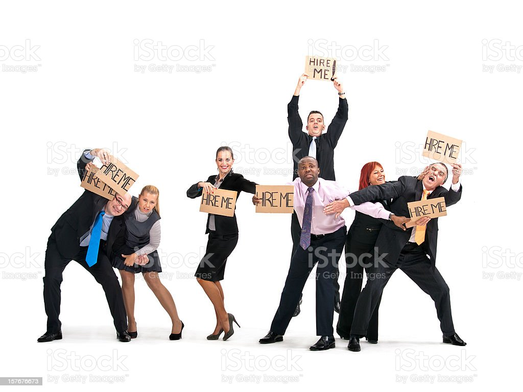 Unemployed Business People Fighting for Job royalty-free stock photo