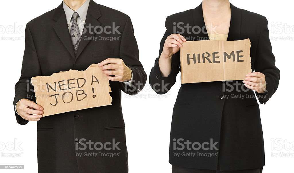 Unemployed Man and Woman Business Workers Holding Job Search Signs stock photo