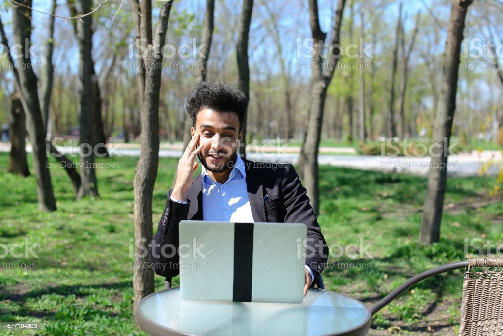 Unemployed man finally found job in Internet stock photo