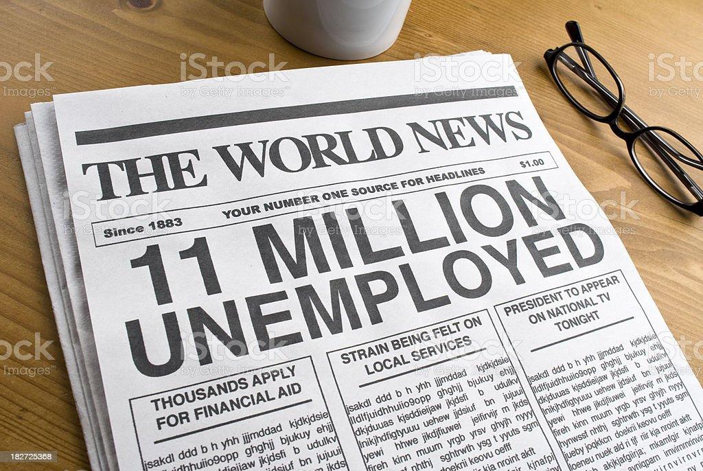Unemployment Headline royalty-free stock photo