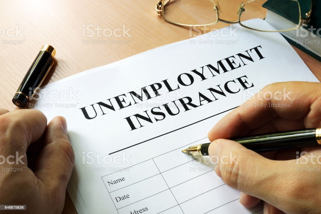Unemployment insurance form on a table. stock photo