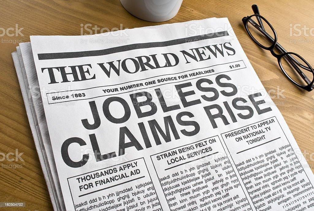 Unemployment newspaper Headline royalty-free stock photo