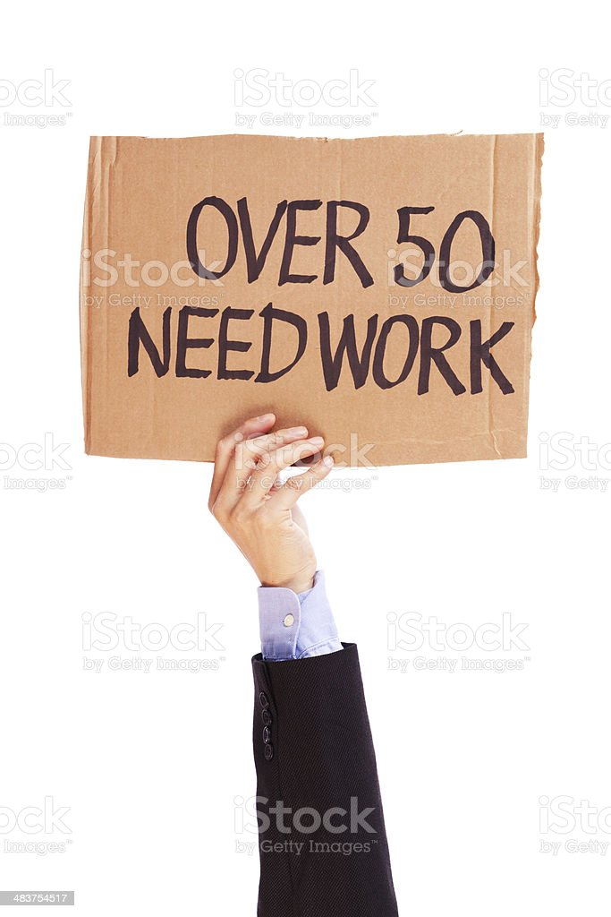Unemployment Over 50 Need Work and Job Sign royalty-free stock photo
