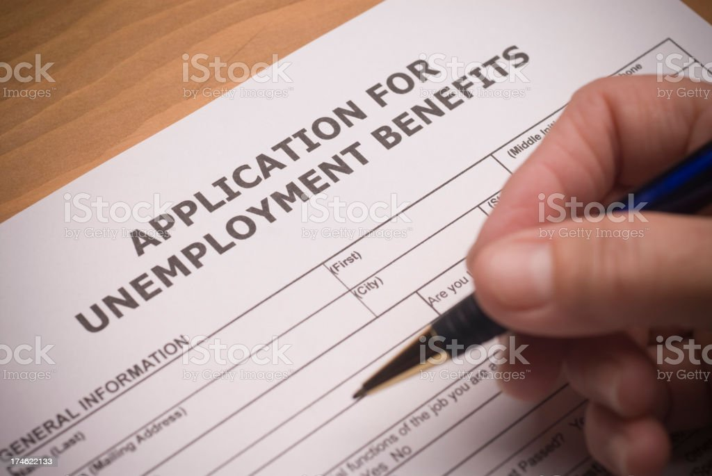 Unemployment paperwork stock photo