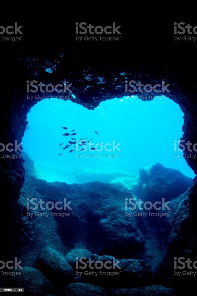 Unerwater Cave in Miyakojima Island stock photo