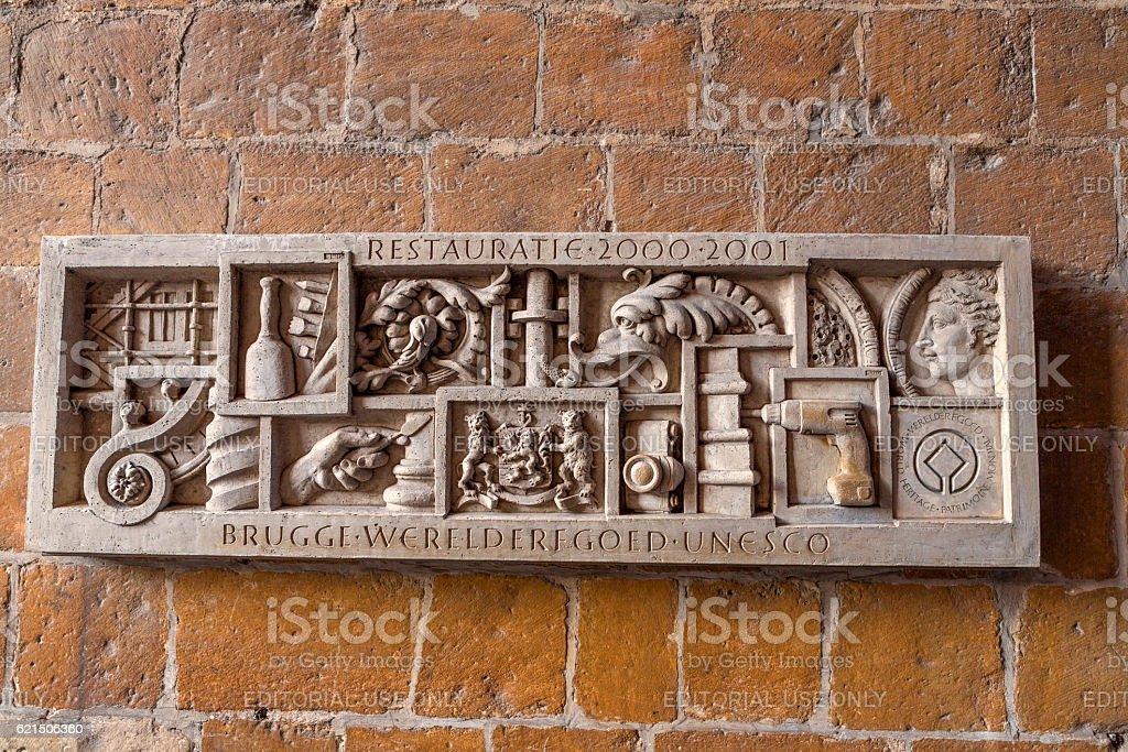 Unesco memorial regarding brugge city restoration start at belgium photo libre de droits