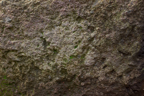 uneven mysterious surface of a stone partially covered with green moss stock photo