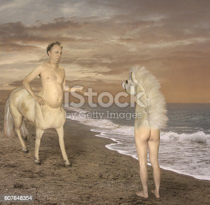 A centaur has met the wrong half. He was very puzzled.
