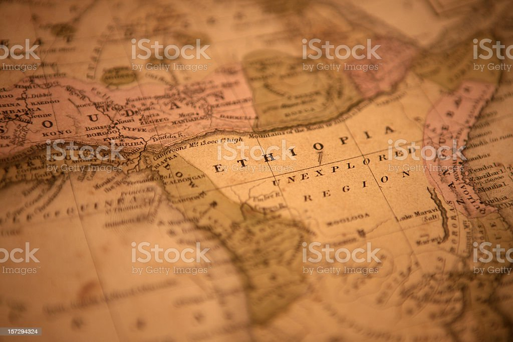 unexplored old map showing ethiopia and unexplored region Africa Stock Photo