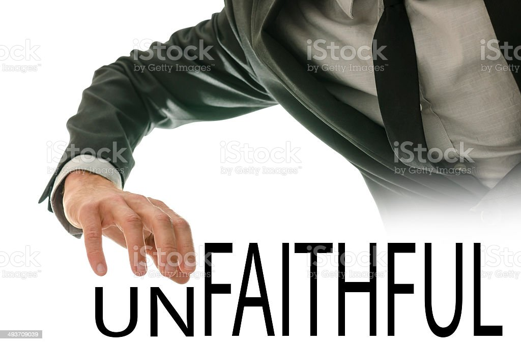 Unfaithful or faithful - man makes a choice stock photo