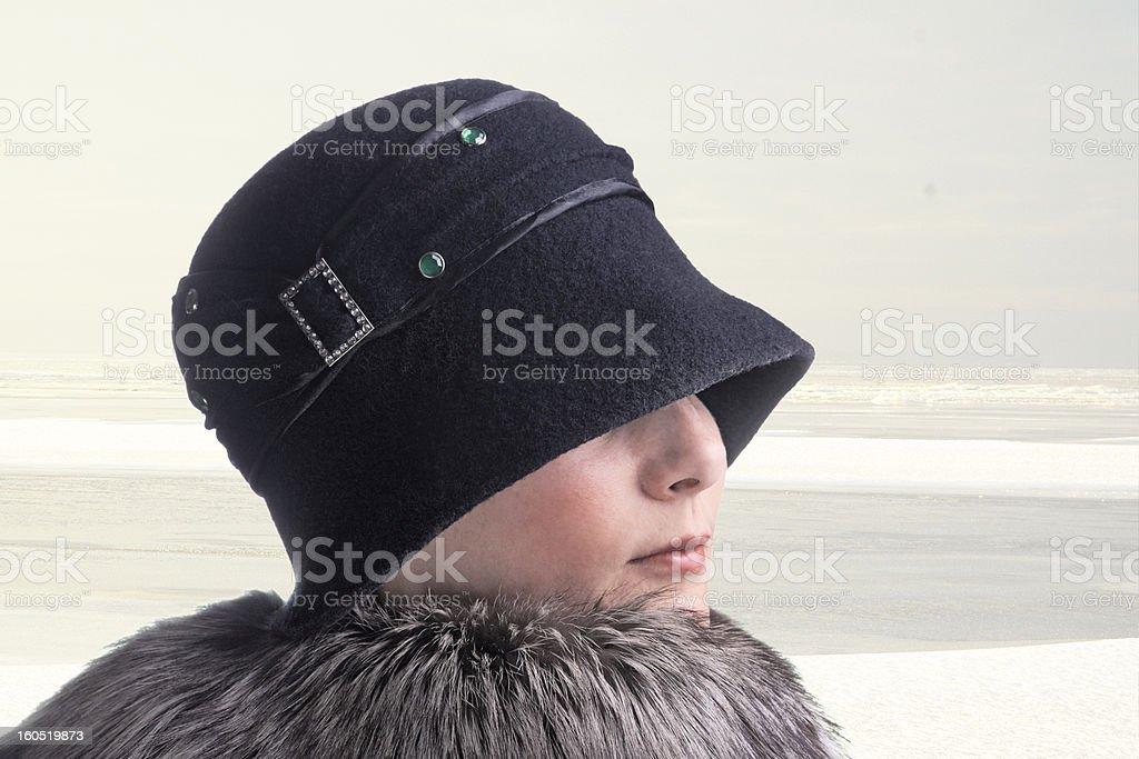 Unfamiliar lady on winter walk. royalty-free stock photo