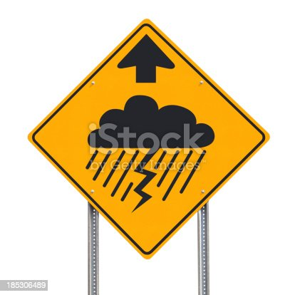 Conceptual road sign symbolically indicating unfavorable conditions ahead - clipping path included