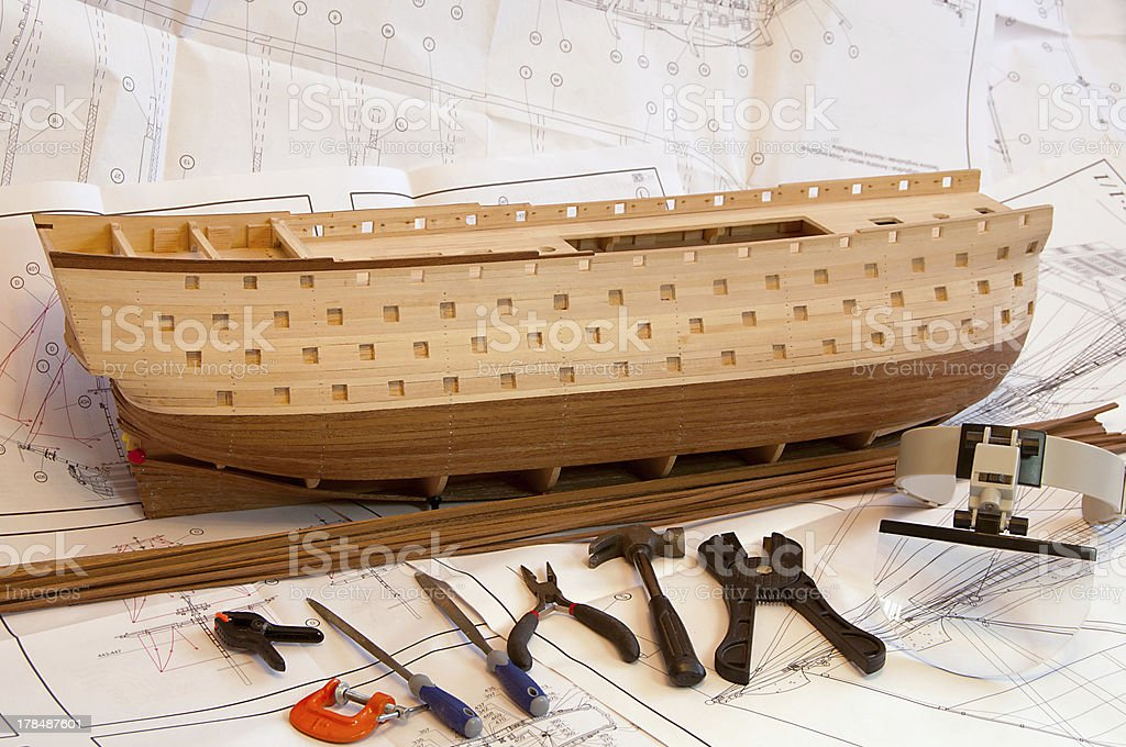 unfinish wooden ship model hull royalty-free stock photo