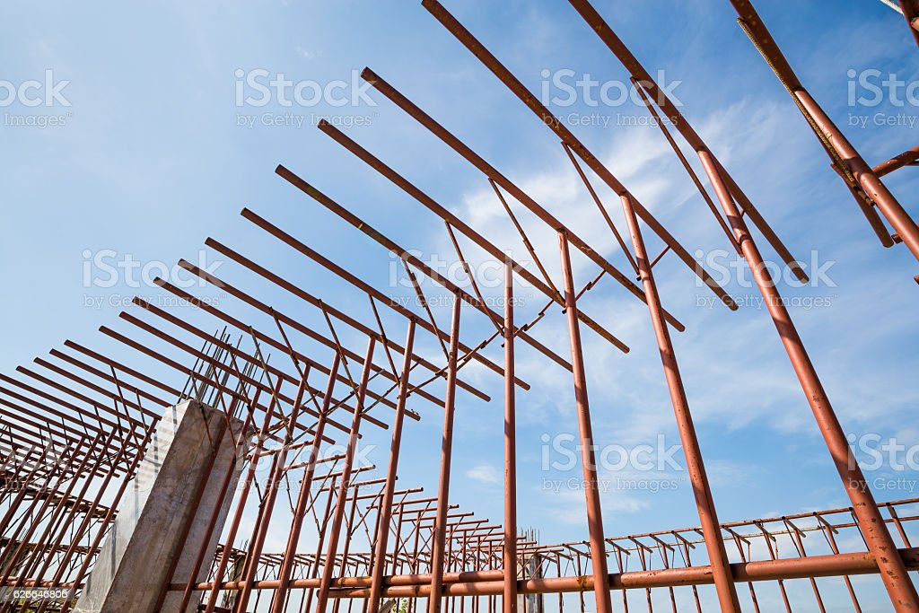 unfinished construction from metal pipe framework stock photo