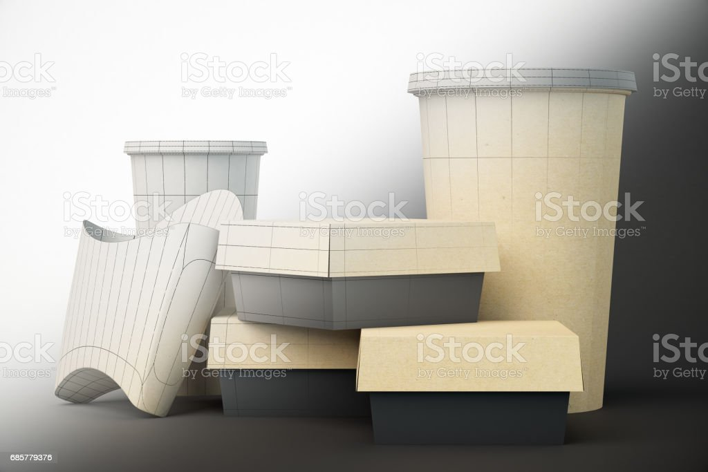 Unfinished fast food packaging design stock photo