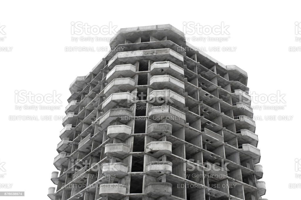 Unfinished high rise building concrete structure stock photo